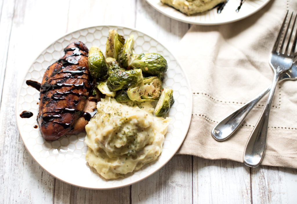 Balsamic Chicken and White Cheddar Mashed Potatoes-- firstandfull.com