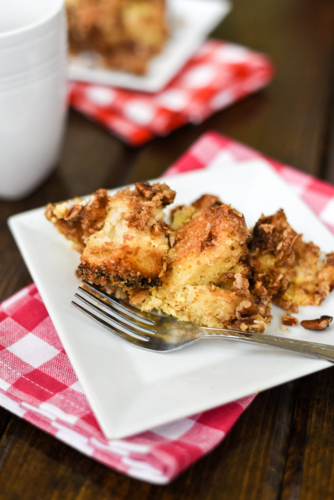 A crowd pleaser for sure! French toast casserole topped with a delicious cinnamon streusel to add a little crunch. Bonus: it can be prepared ahead of time. | Firstandfull.com