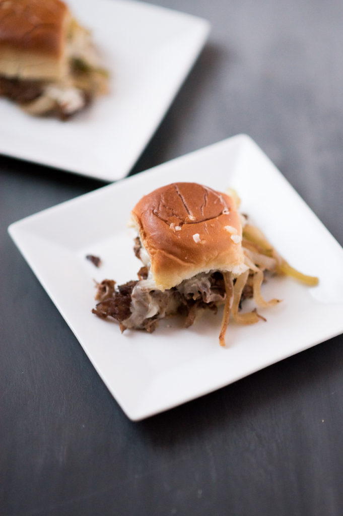 Tender seasoned sirloin, peppers, onions, and provolone served on top of a toasted Hawaiian Roll. Philly cheesesteak sliders perfect for game day!
