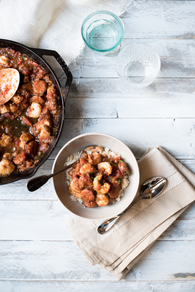 This 30 min Jambalaya is a meal your family will request time and time again. Easy & delicious chicken, shrimp, and sausage recipe.