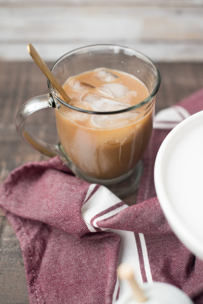 Homemade coffee creamer is easy to make-- cream/ milk, a flavor extract, and a sweetener is all you need. Find out how I make a honey- cinnamon version! | FirstandFull.com