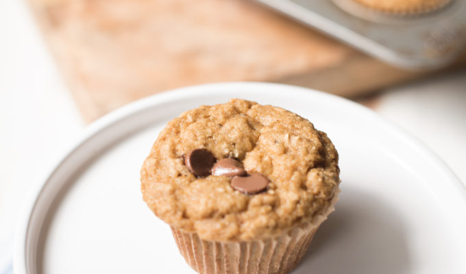 Healthy Banana Chocolate Chip Blender Muffins