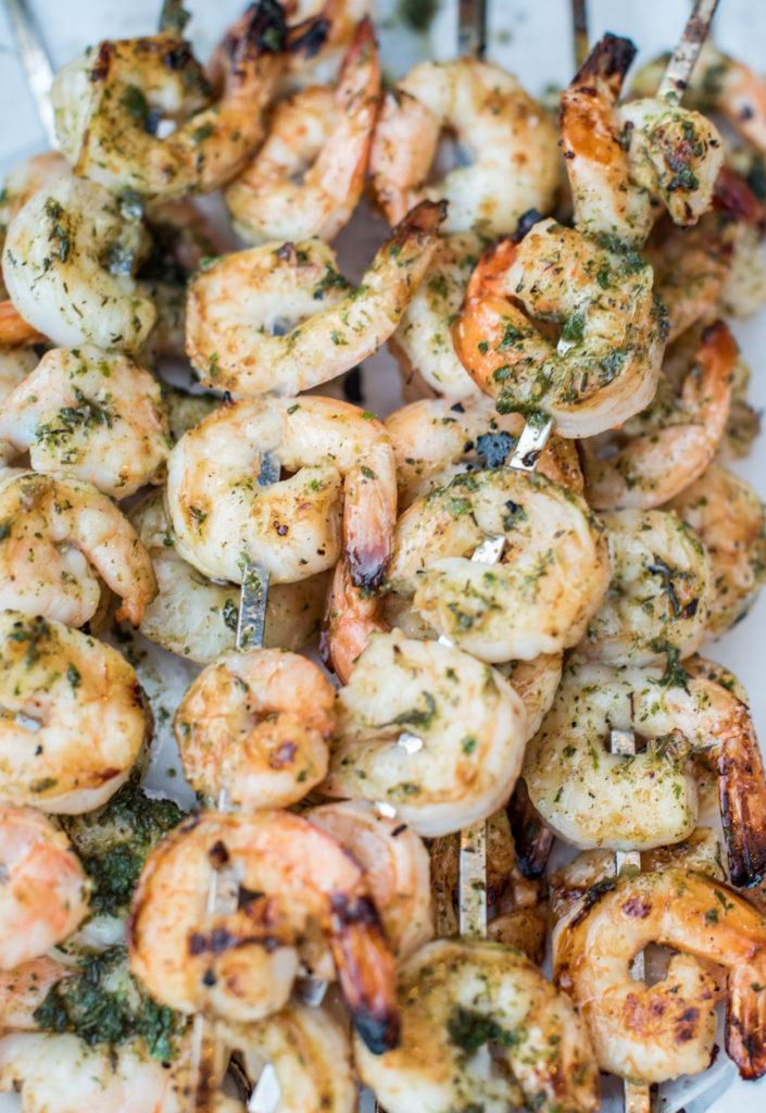 Honey cajun grilled shrimp: first seasoned with cajun goodness, brushed with honey, and finished with a delicious herbed sauce. New BBQ Favorite!
