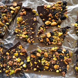 Dark Chocolate Pistachio Bark with Blueberries + Granola