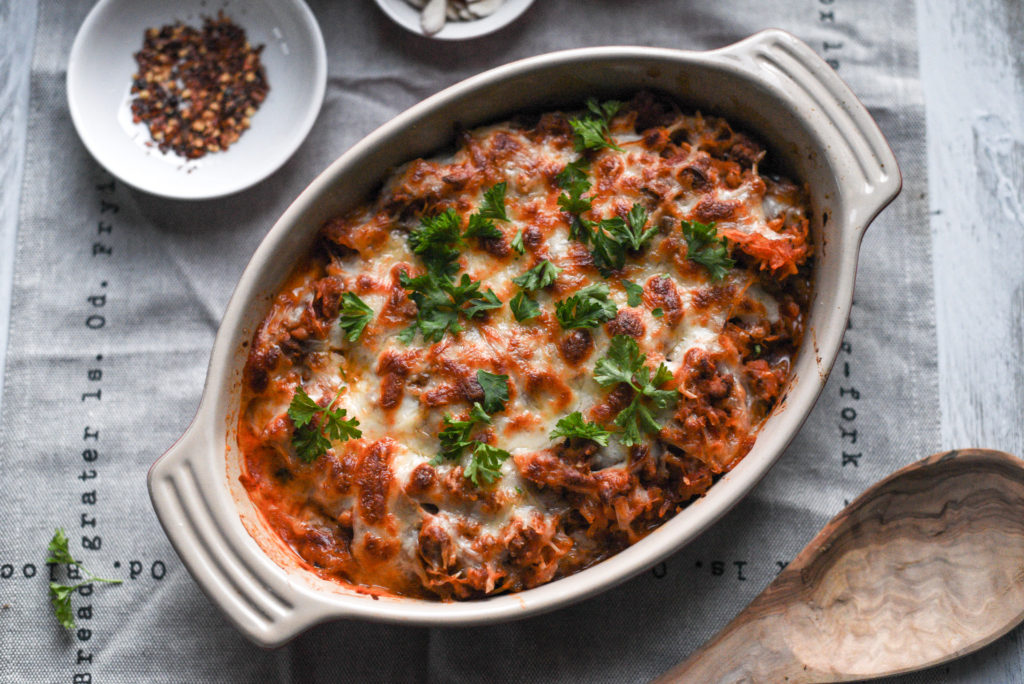 This spaghetti squash casserole is a lightened up version of your favorite baked Italian pasta dish. Also included: freezer tips and vegetarian options, from FirstandFull.com