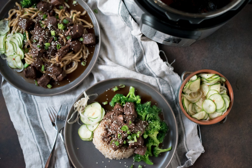 This amazing Chili Garlic Beef NEEDS to be added to your weeknight meal rotation. It's savory, a little spicy and perfect served on rice with steamed veggies. It's made in the instant pot but slow cooker instructions included.