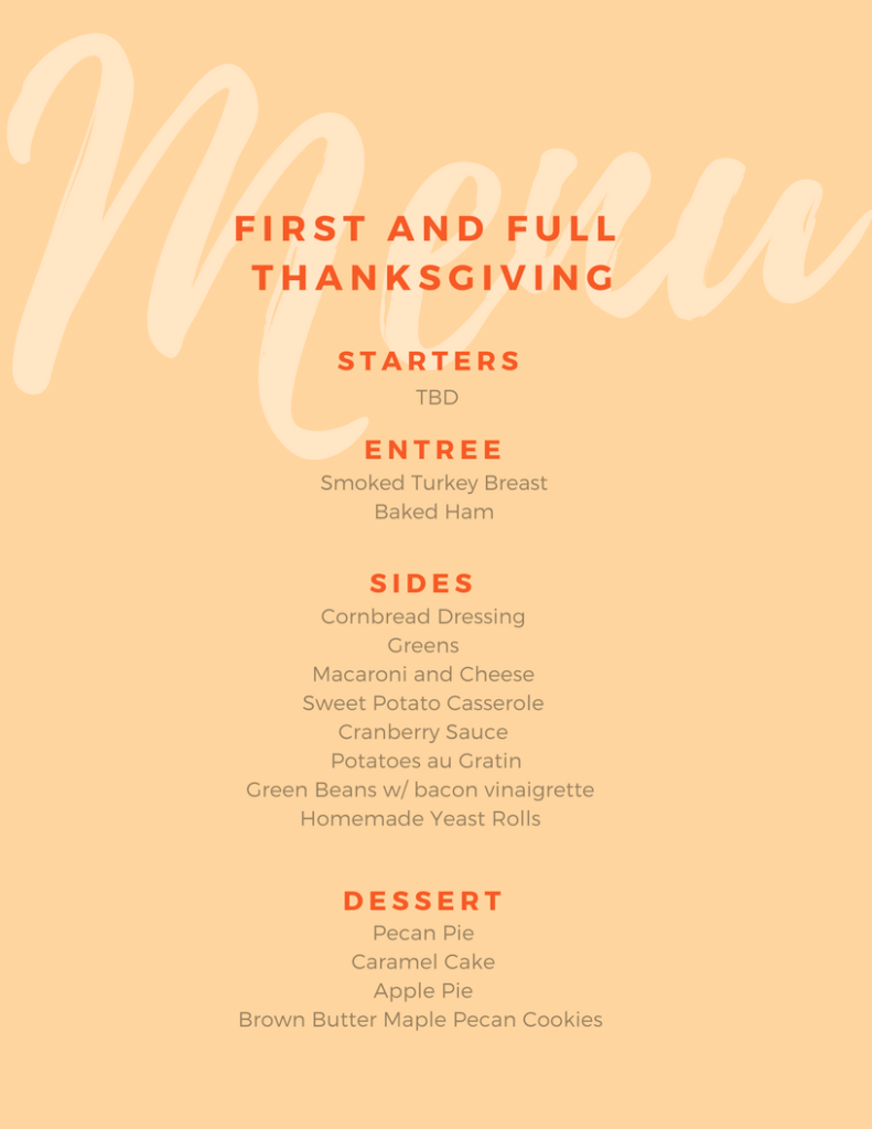 Thanksgiving Menu - First and Full