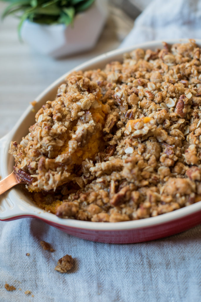 Sweet Potato Casserole with a sweet and crunchy pecan crumble. This is an adaptation of the famous Ruth Chris Sweet Potato Casserole!