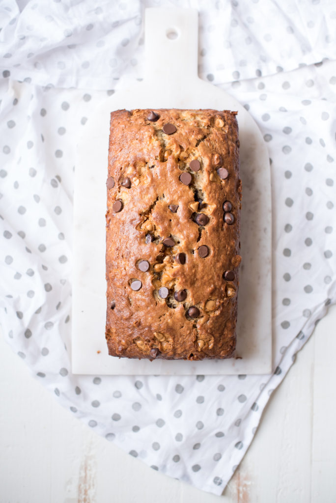 Butterscotch Banana Bread: Tender and moist banana bread packed with chocolate chips, butterscotch, and walnuts for a little crunch.