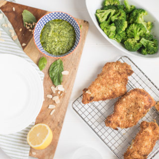 Almond Crusted Chicken Cutlets with Basil Pesto