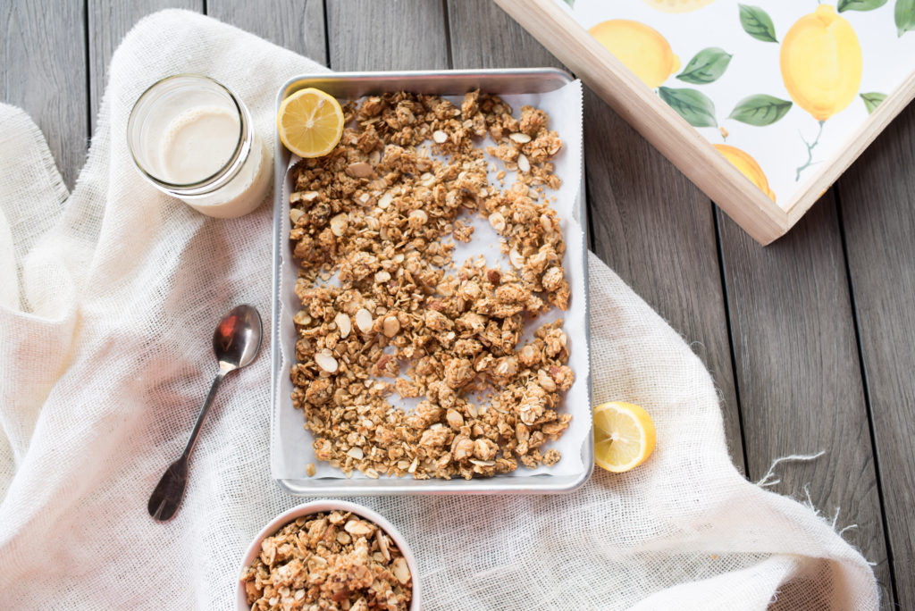 Lemon Chia Seed Granola that tastes just like your favorite bakery muffin. It's sweet, crunchy, and lemony of course! Serve it over yogurt, ice cream, oatmeal, or by the handful for a nice snack. Instructions for turning it into an easy, portable Lemon Chia Seed Granola Bars also included!