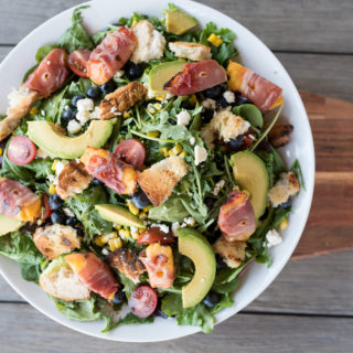 Grilled Prosciutto Wrapped Peach Panzanella Salad